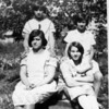 Source:  Minnie Malich      <br /> Date:  Unknown     <br /> Front:  Mary Bussanich and Lubie Malich.<br /> Back:  Mary Perovich and Mattie Skirvanich.