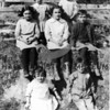 Source:  Unknown     <br /> Date:  Unknown     <br /> Joe and Mitchell Skansie Families.<br /> Back row: Catherine and Caroline - daughters of Joe Skansie.<br /> Middle row: Marie (Dorotich) Gustafson, Tina - daughter of Mitchell Skansie, William, son of Mitchell Skansie.<br /> Front row: Amanda, daughter of Mitchell, Mitchell Skansie, Jr.