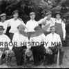 Cromwell baseball team, 1913.  Front row;  Felix Dagasso, Hartman Stang, Ole Olson, Knute Sande.<br /> Back row:  Edward Carlson, Manfred Samuelson, Victor Samuelson, Oscar Samuelson and Arthur Berntsen.  Source:  Mrs. C.F. McCormick.