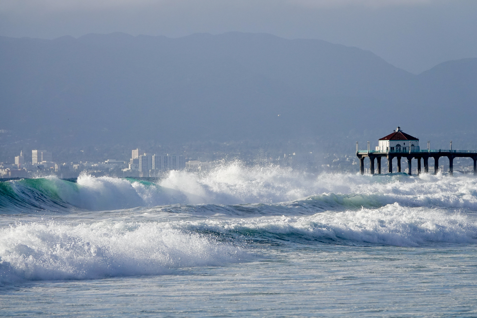 A view of nearby Manhattan Beach and its Pier from Hermosa Beacj. You can also see Santa Monica to the left of the Pier