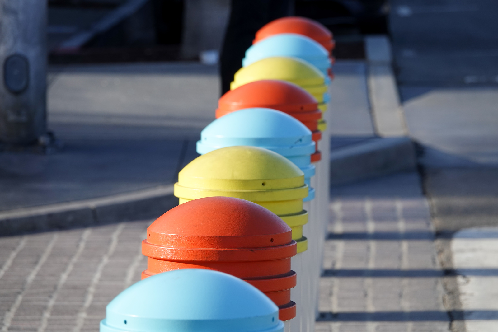 Bumpers to keep cars off pedestrian-only Pier Plaza in Hermosa Beach