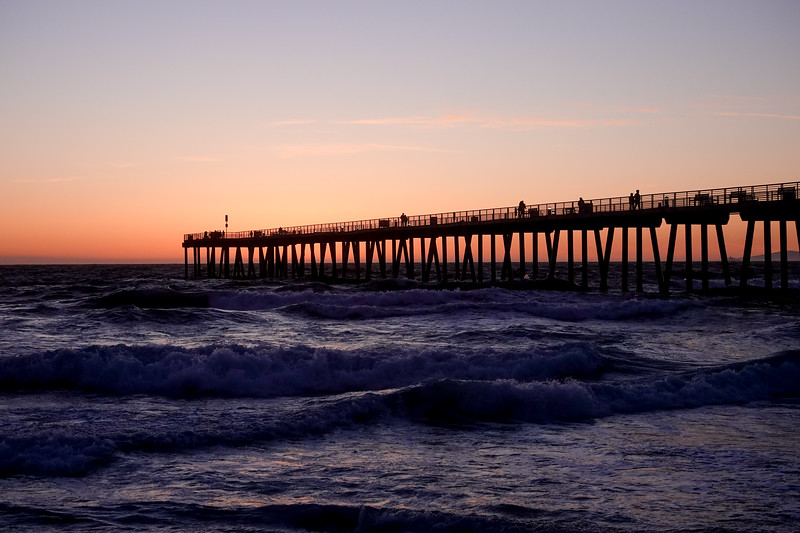 The Hermosa Beach Pier just after sunsetg