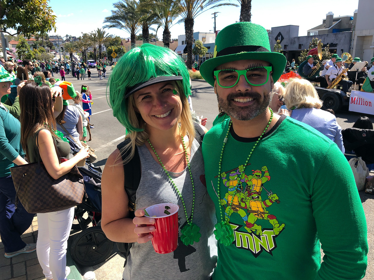 Parade revelers all decked out in green