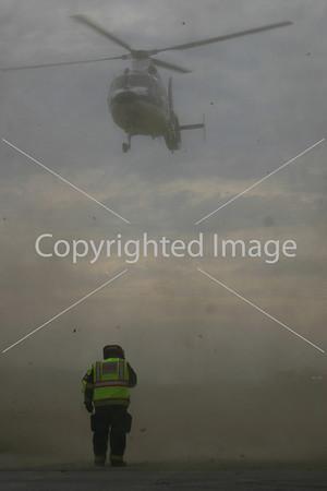 LifeFlight landing at Carroll Road accident scene Nov. 30, 2012.