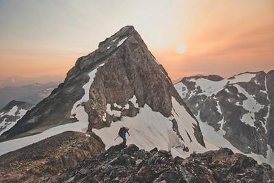 Mountaineering on Ashlu Mountain, in the Coast Mountain Range of British Columbia, Canada.