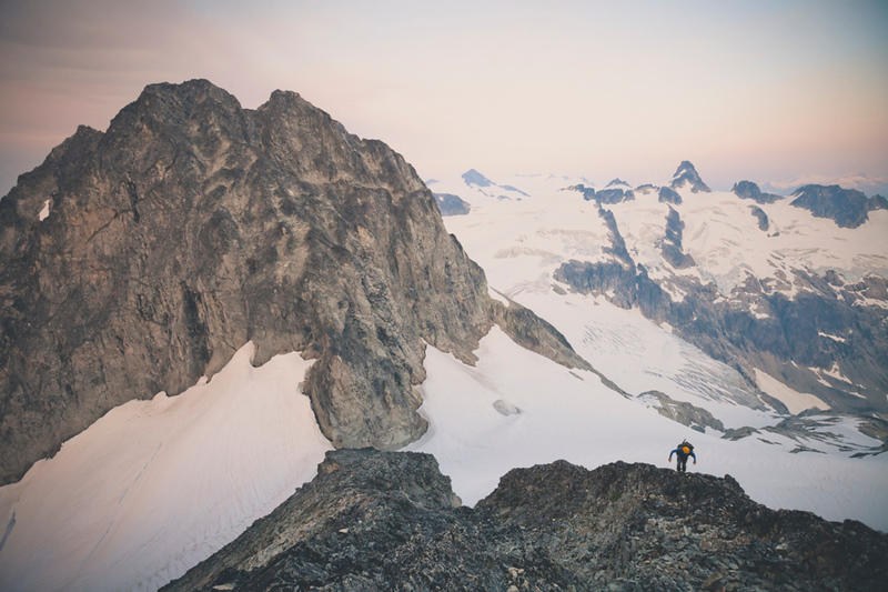 Mountaineering on Ashlu Mountain, in the Coast Mountain Range of British Columbia, Canada.