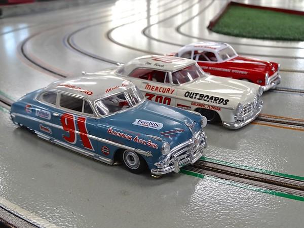 50's-60's NASCAR class: Keith Tanaka's 1952 Hudson Hornet, '55 Chrysler 300, 1950 Olds