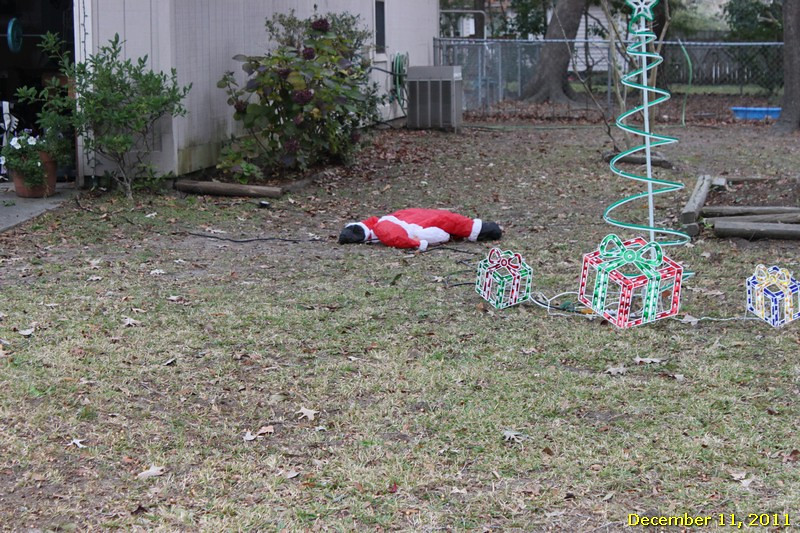 Greg says someone has been going around town killing all the Santas.  This is proof.