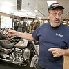 American Harley Davidson in Leominster on Central Street is celebrating their 40th year in business in 2016. Owner of the shop Phil Desmarais in his showroom on Thursday afternoon. SENTINEL & ENTERPRISE/JOHN LOVE