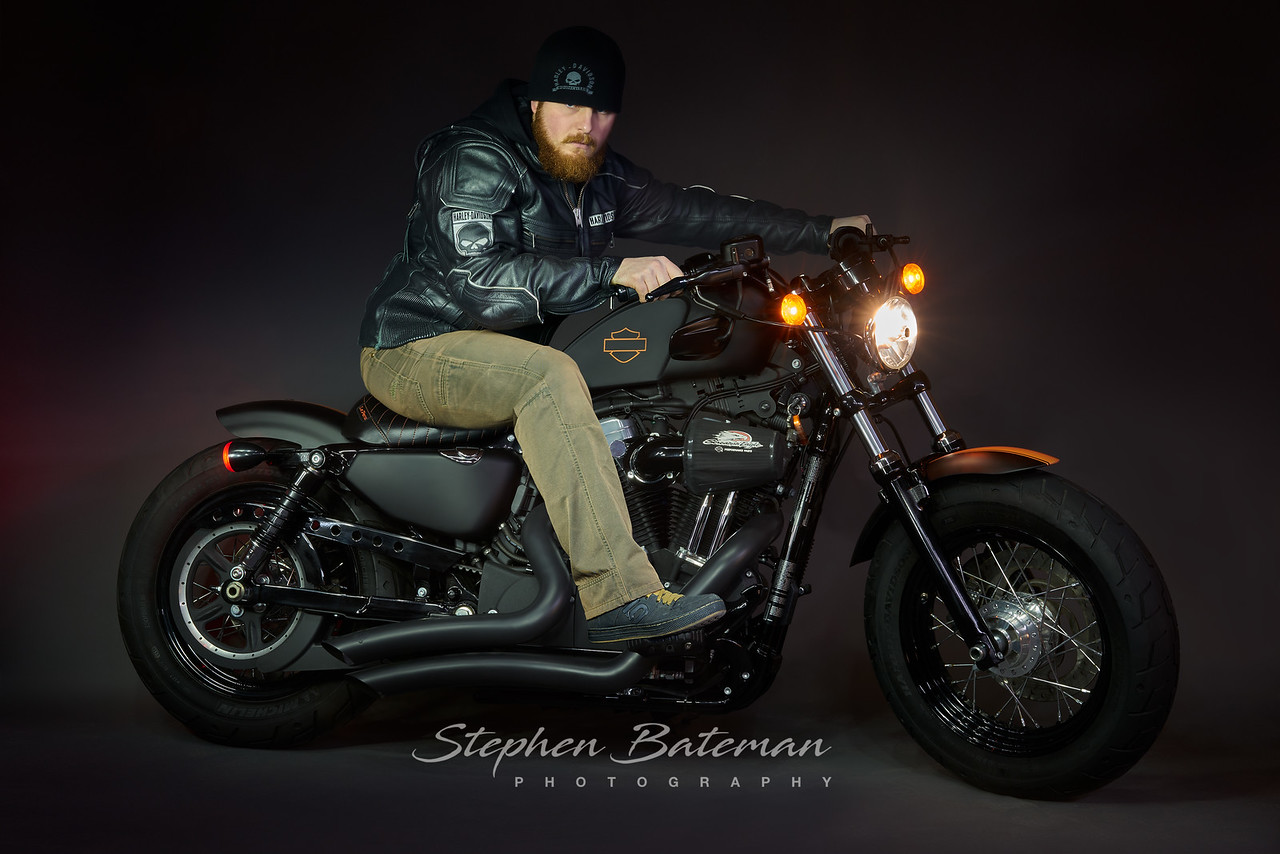 Oliver on his Custom Harley Davison Sportster 48