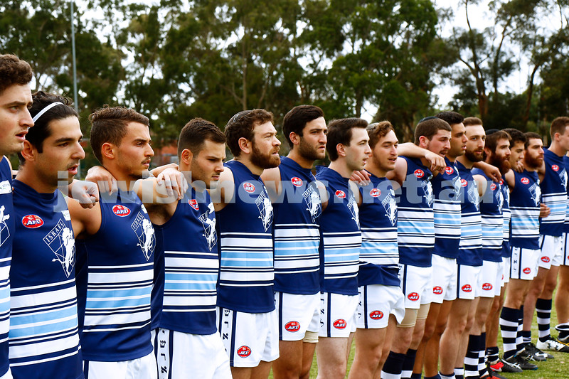 2-4-17. 20178 Harmony Cup. Team israel line up for the national anthem before playing Malta. Photo: Peter Haskin