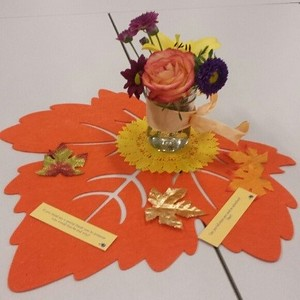 Event décor included fall leaves, flowers and prevention messages.