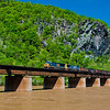 Train crossing the Potomac River in Harper's Ferry, West Virginia.