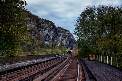 View of Maryland Heights and train tunnel from Harpers Ferry train station