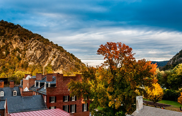 View of Maryland Heights and lower town, Harpers Ferry, West Virginia.