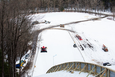 KELLY FLETCHER, REFORMER CORRESPONDENT --A variety of construction vehicles are scattered at the base of Harris Hill ski jump as preparations are underway for this weekend's competition.