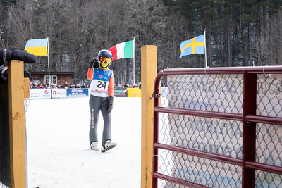 KELLY FLETCHER, REFORMER CORRESPONDENT -- Several thousand specatators came to Harris Hill on Sunday to watch ski Jumpers from all over the world compete in the 98th annual Fred Harris Memorial Ski Jumping Tournament in Brattleboro.