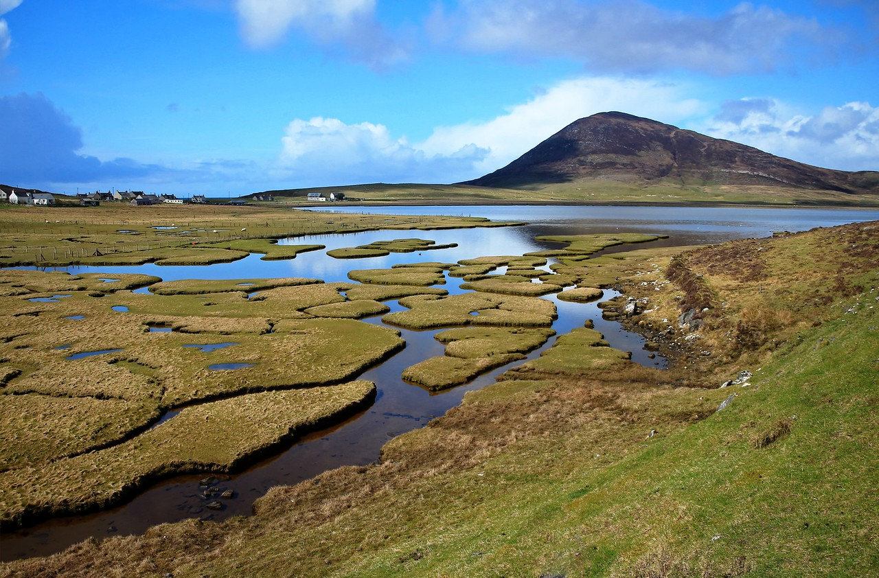 View over the saltings at Ceapabhal at Northton, Harris