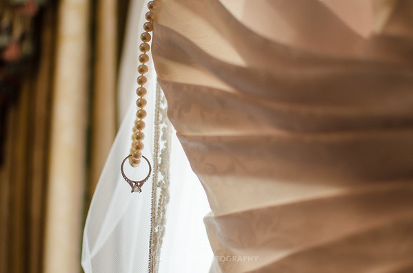 Engagement ring on pearls
