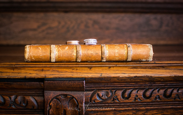 Wedding Bands on an antique book