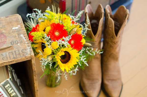 sunflowers bouquet and cowboy boots