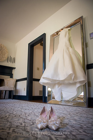 Wedding gown hanging in the Bridal Cottage