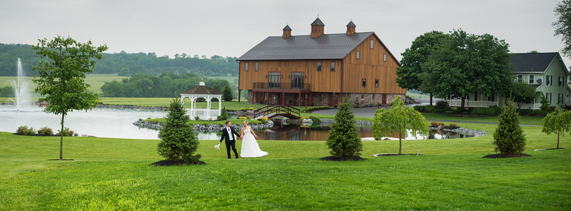 Bride and Groom at Harvest View Barn