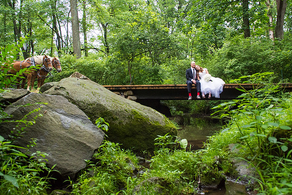 Bride and Groom on the Ironstone Ranch Bridge