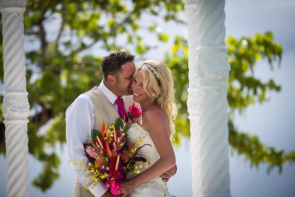 Bride and groom on 7 mile beach