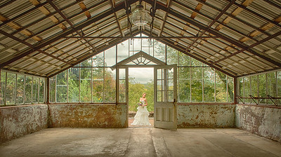 Bride in the greenhouse