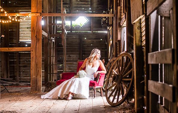Rustic Barn Bridal portrait