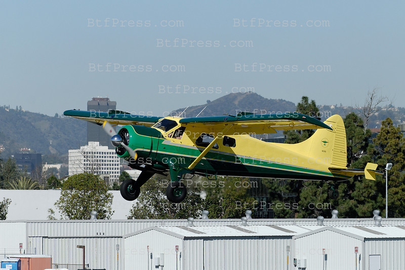 Exclusive__ Harrison Ford flies his 1955 Dehavilland DHC-2MK. I(L20A) from Santa Monica Airport to Santa Barbara and back home in the afternoon.