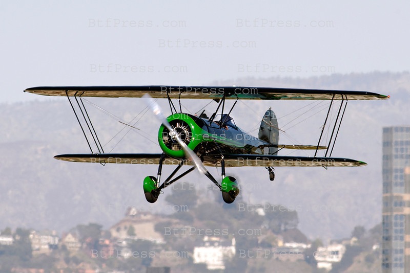 EXCLUSIVE___ Harrison Ford alias Indiana Jones pilots his Waco Biplane with a friend during a Sunny Sunday
