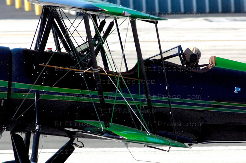 Exclusive------ Harrison Ford pilots his Waco Biplane in Santa Monica. 2000 Rare Aircraft LTD/Redman (WACO) TAPERWING T-10, Jacobs R755B2 300Hp radial, Experimental class.