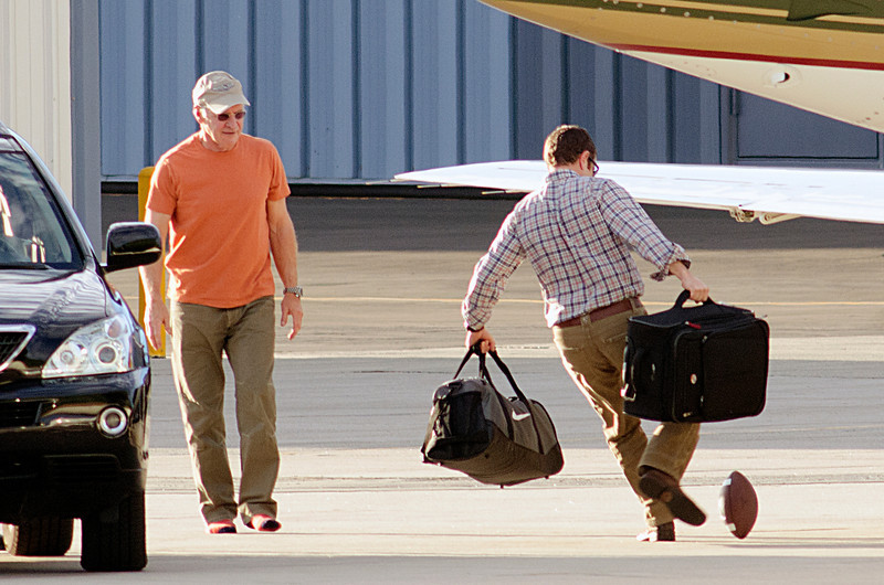 Harrison Ford plays on the tarmac
