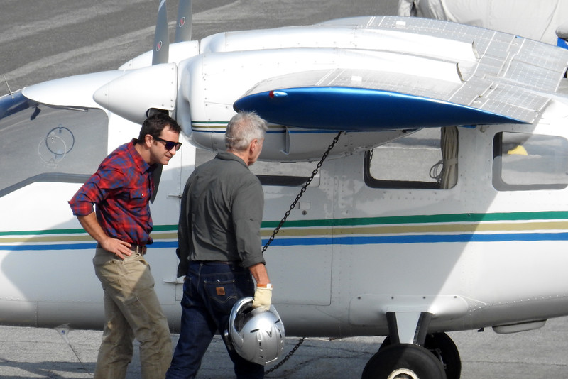 Harrison Ford rides a bike on Santa Monica airport