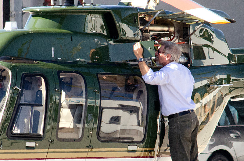 Harrison Ford flies his new helicopter