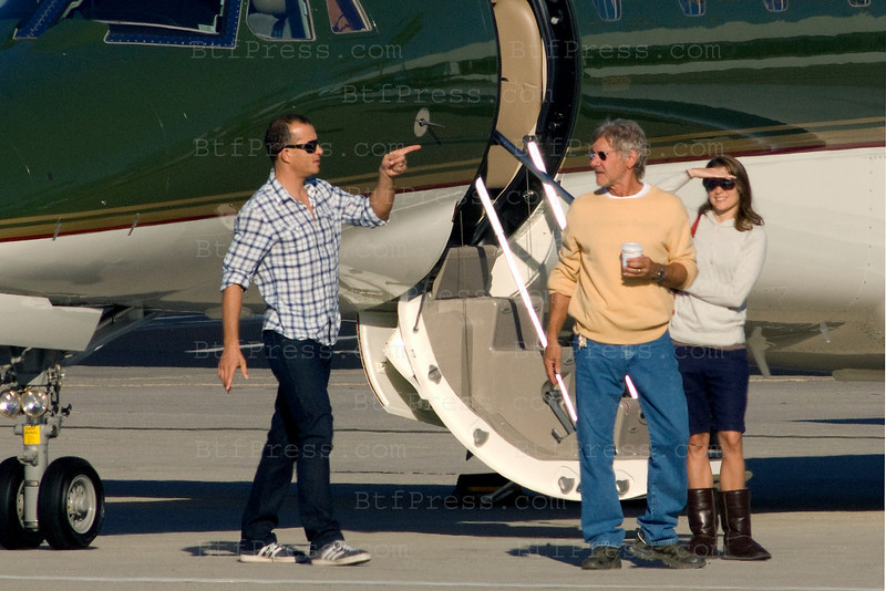 Exclusive. Harrison Ford left for the Labor Day weekend with his wife Calista Flockhart and son Liam and a couple friend to Harrison's ranch near Jackson Hole in the Wyoming. Harrison and Calista take their motorcycle Helmets.
