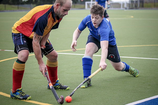 Luke Lambert (Harrogate) puts pressure on the Lindum defender. Luke scored during the game to help secure the first victory of the season for the club in the league.