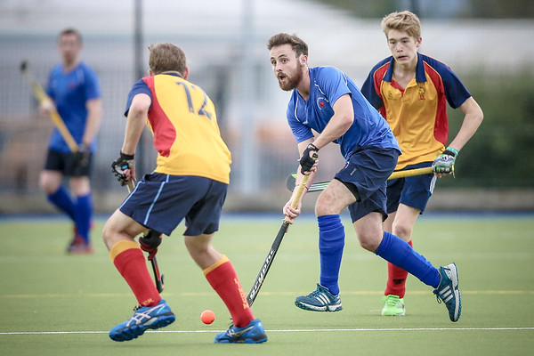 Sam Mackerall (Harrogate) runs witht the ball while looking for the next pass, during the Lindum league game.