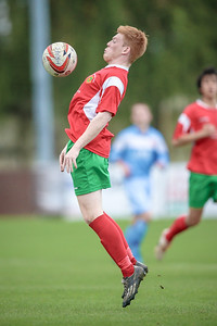 Lewis Riley controls the ball on his chest during the Parkgate NCEL Premier League game.