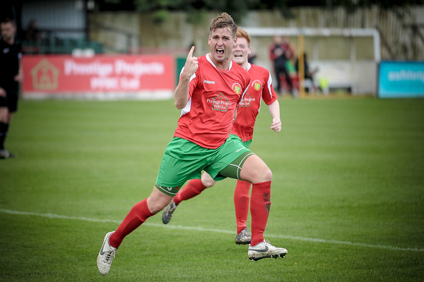 Mike Morris celebrates getting Railway level just before half time. 1-1