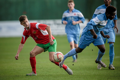 Albert Ibrihimi watches as the ball fall just in front of him and not far outside the Parkgate penalty box.