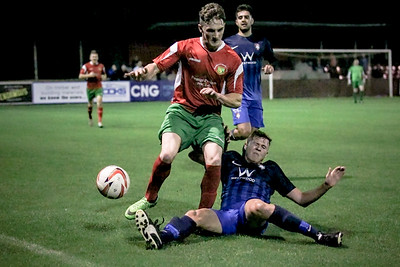 Jack Waddle - son of Chris Waddle who was at Station View last night to watch his son - makes a tackle on Ryan Sharrocks during the first half of the NCEL Premier League game.