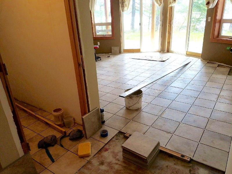 Porcelain tile with epoxy grout in progress