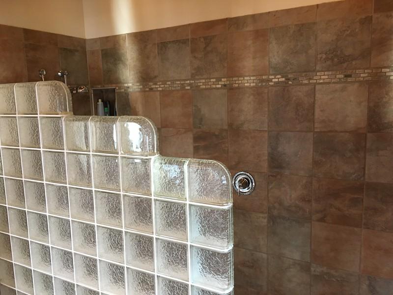 Glass block in master shower stall