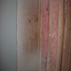 Bathroom insulation on back corner of shower wall.