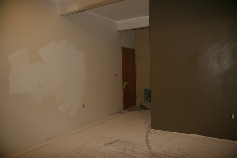 Prow room toward hall.  Garage door on left.