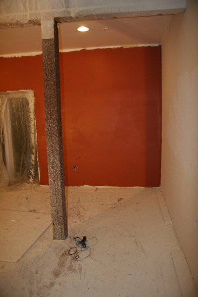 wet paint - Benjamin Moore Aura line interior paint.  Audobon Russet AF-215<br /> <br /> Another color choice would have been AF-235, Warmed Cognac which is a lovely color w/ a bit less orange.