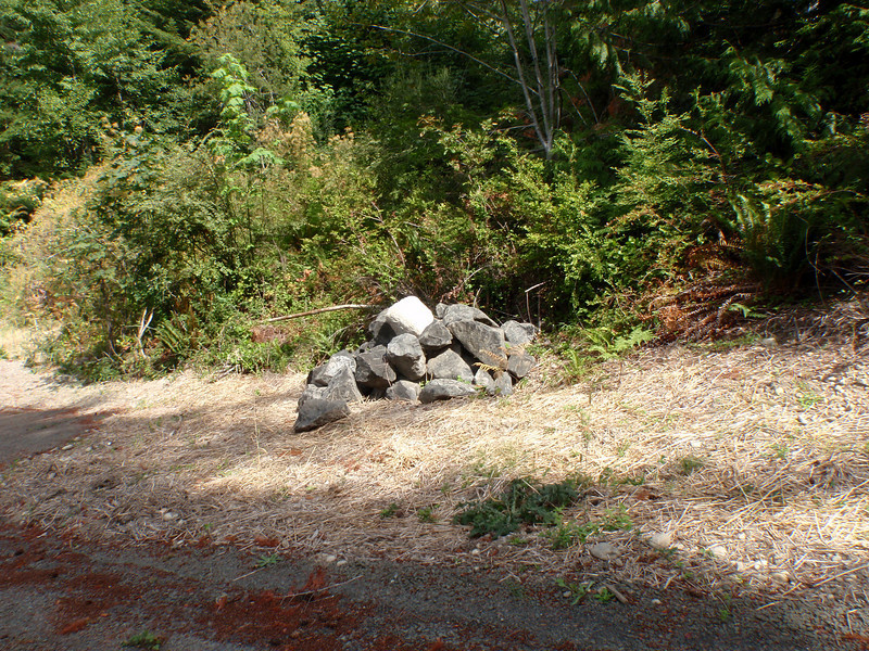 These rocks were supposed to be blocking the embankment on the drive as well as access to the septic field...   Our contractor ended up pulling the excavator off the job when he got carried away on other stuff and the bill got higher than expected